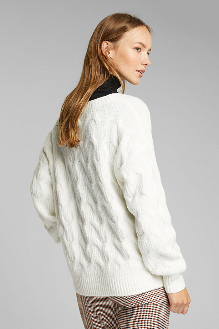 With wool: jumper with a cable pattern, OFF WHITE, detail image number 3