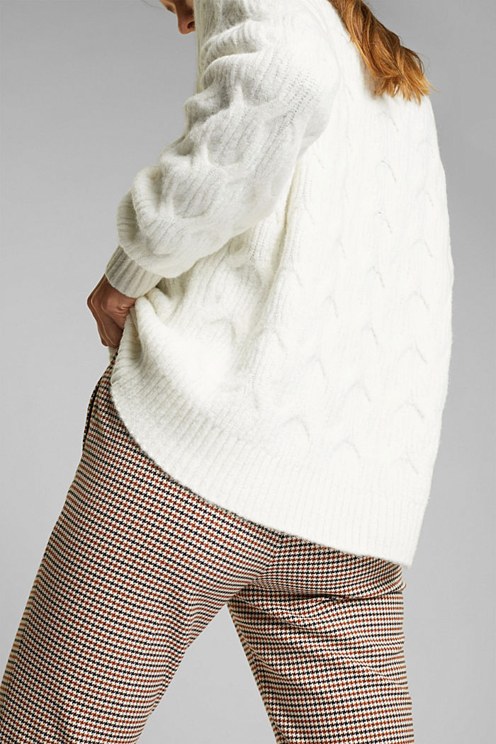 With wool: jumper with a cable pattern, OFF WHITE, detail image number 2