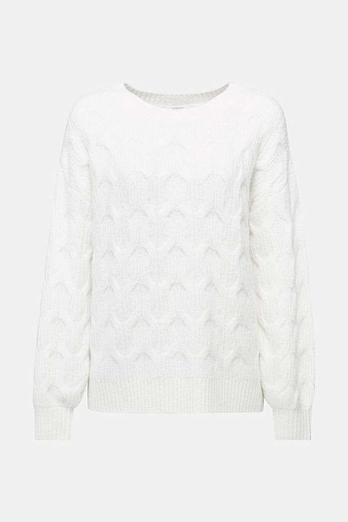 With wool: jumper with a cable pattern, OFF WHITE, detail image number 5