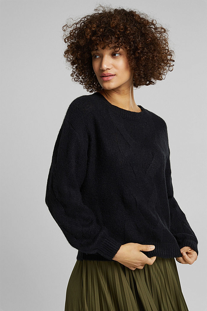 Textured jumper containing alpaca, BLACK, detail image number 0