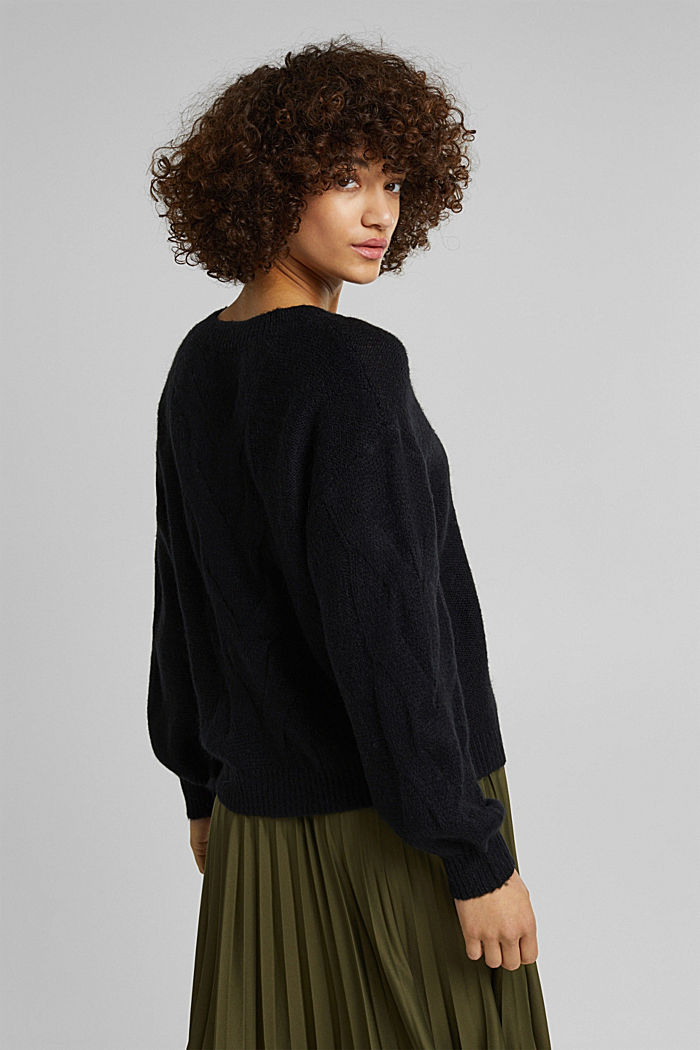 Textured jumper containing alpaca, BLACK, detail image number 3