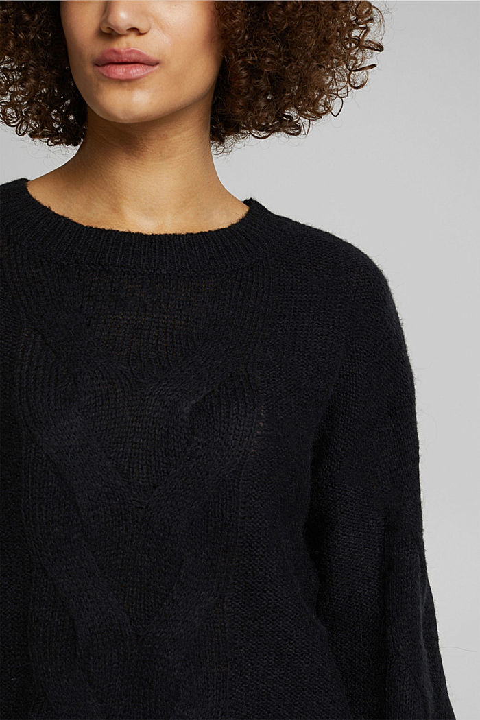 Textured jumper containing alpaca, BLACK, detail image number 2