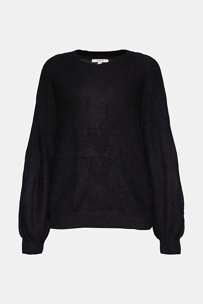 Textured jumper containing alpaca, BLACK, detail image number 6