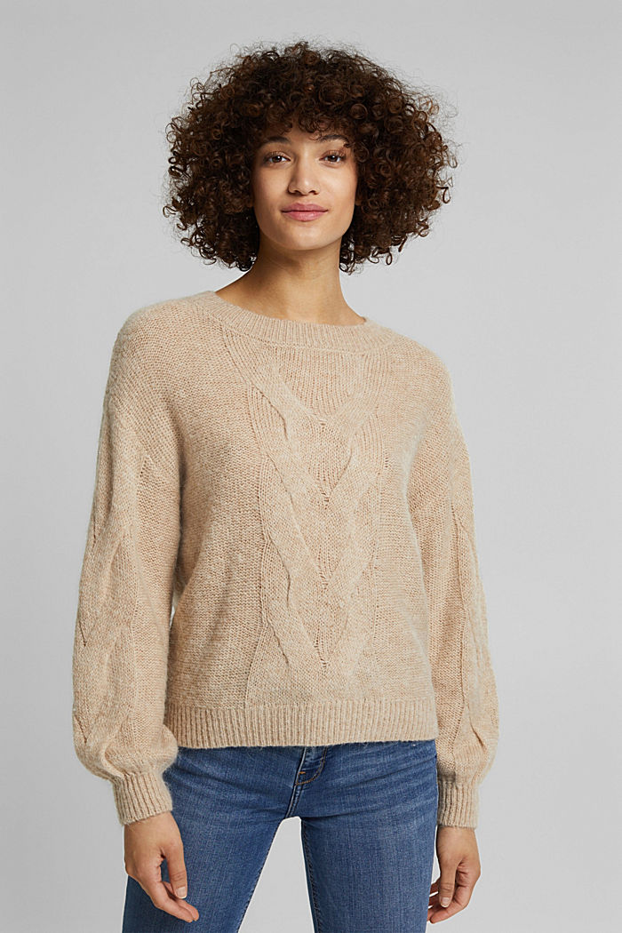 Textured jumper containing alpaca, BEIGE, detail image number 0