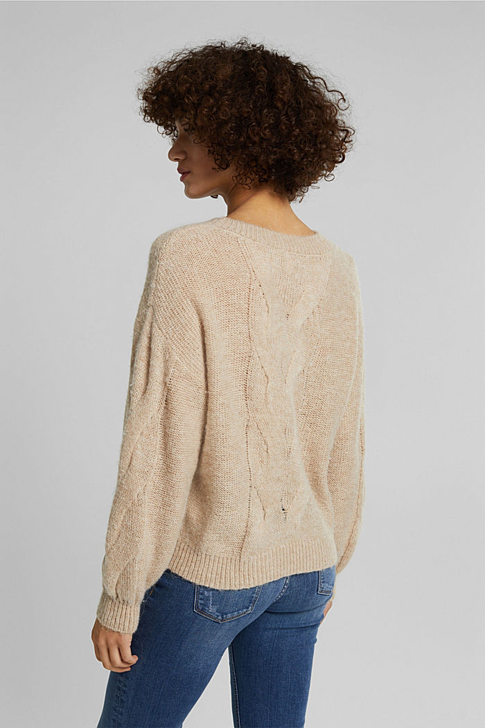 Textured jumper containing alpaca, BEIGE, detail image number 3