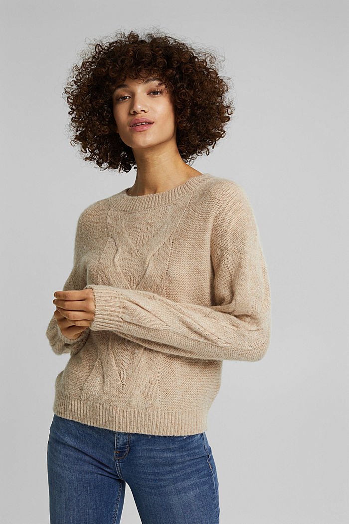 Textured jumper containing alpaca, BEIGE, detail image number 5