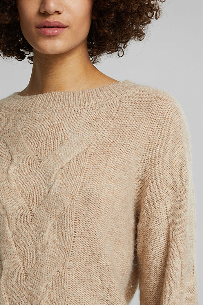 Textured jumper containing alpaca, BEIGE, detail image number 2