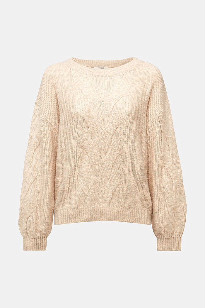Textured jumper containing alpaca, BEIGE, detail image number 7