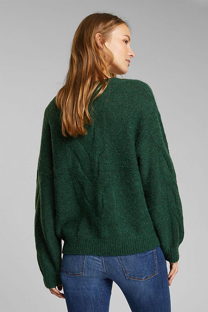 Textured jumper containing alpaca, DARK GREEN, detail image number 3
