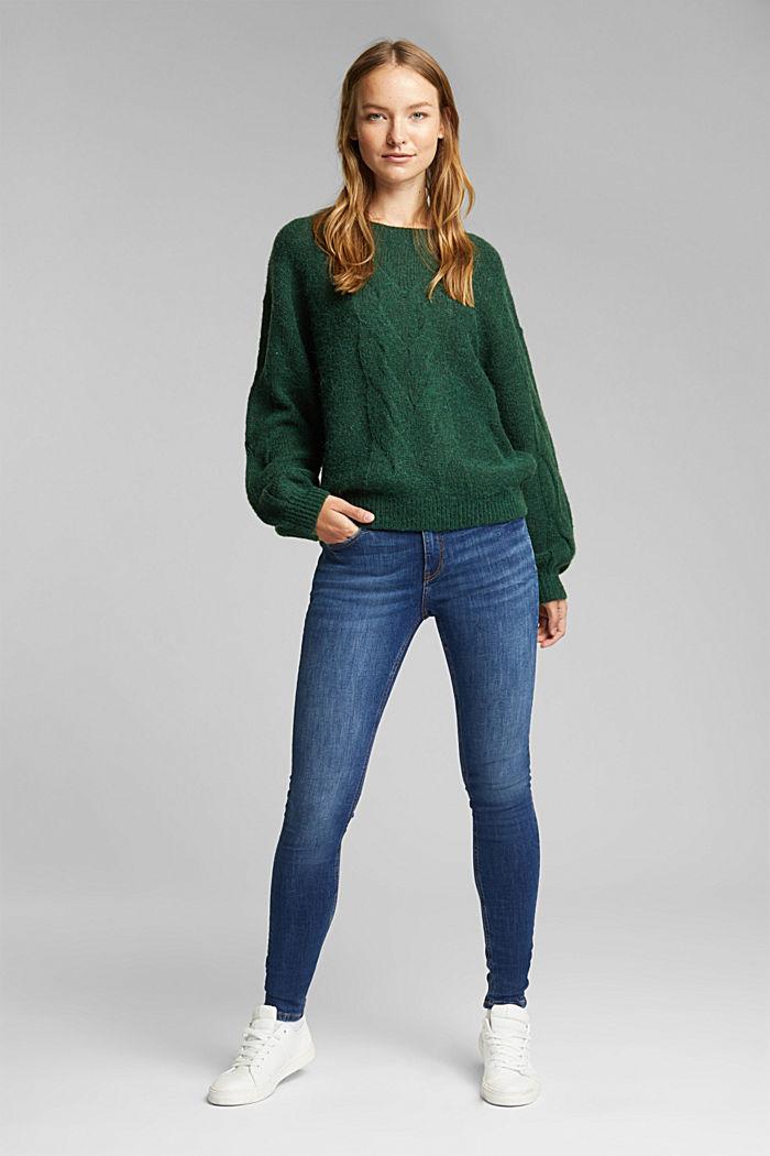 Textured jumper containing alpaca, DARK GREEN, detail image number 1