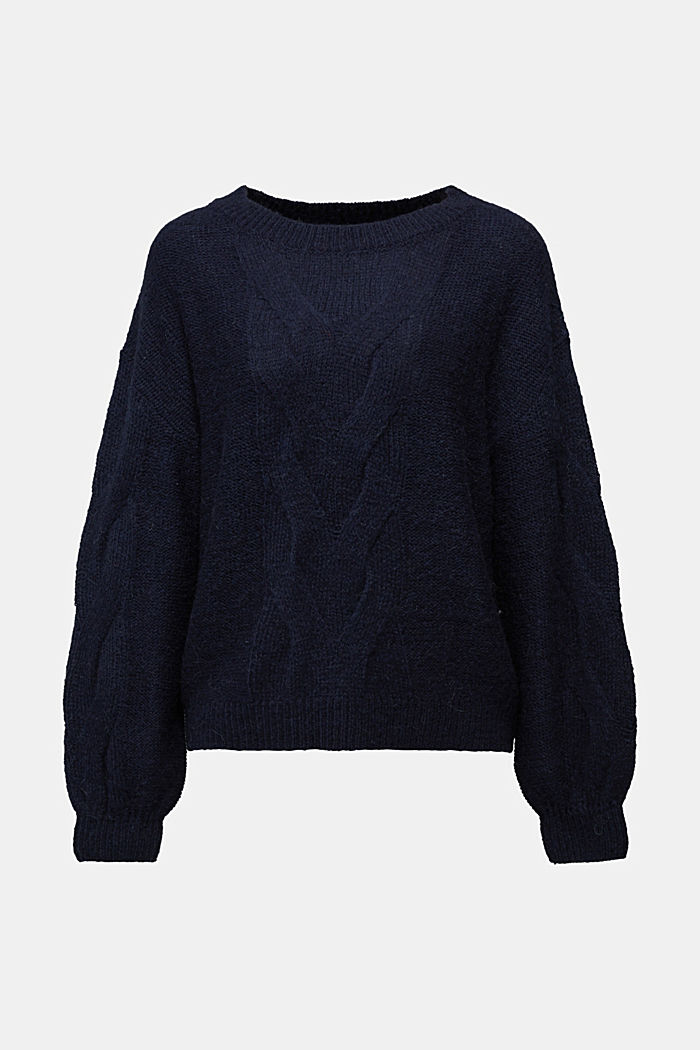 Textured jumper containing alpaca, NAVY, detail image number 5