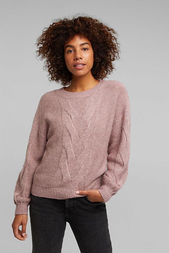 Textured jumper containing alpaca, MAUVE, detail image number 0