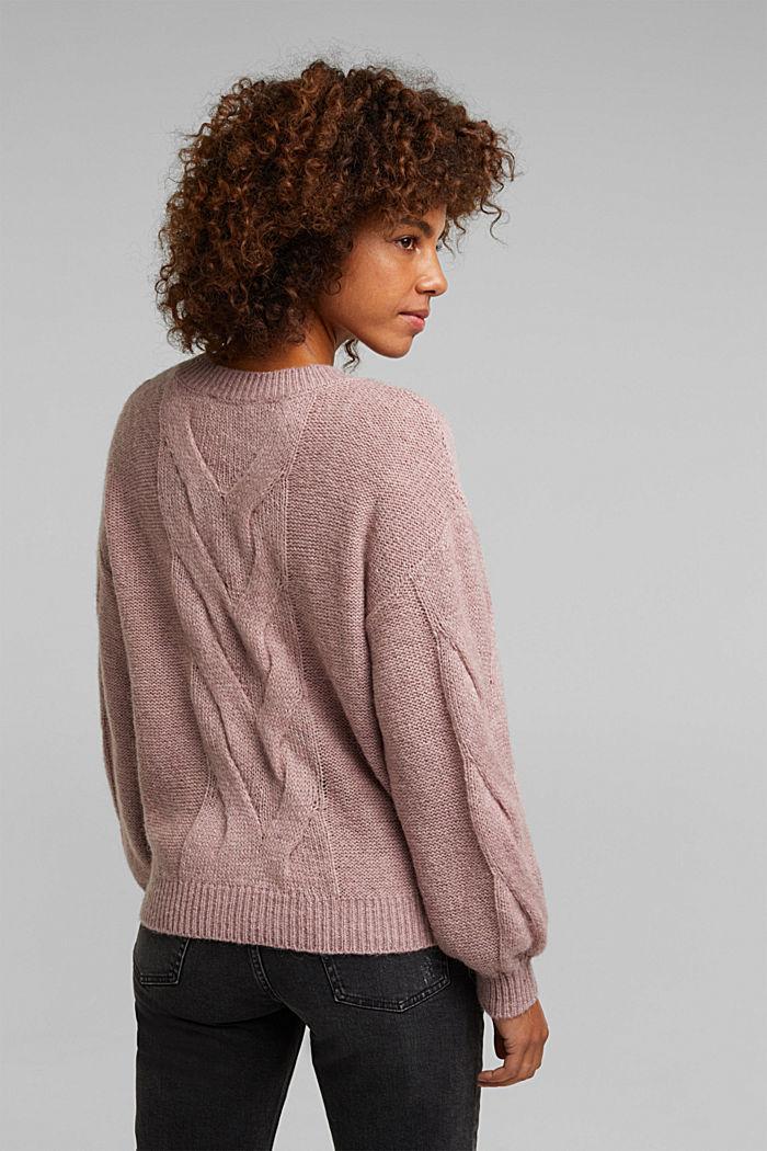 Textured jumper containing alpaca, MAUVE, detail image number 2