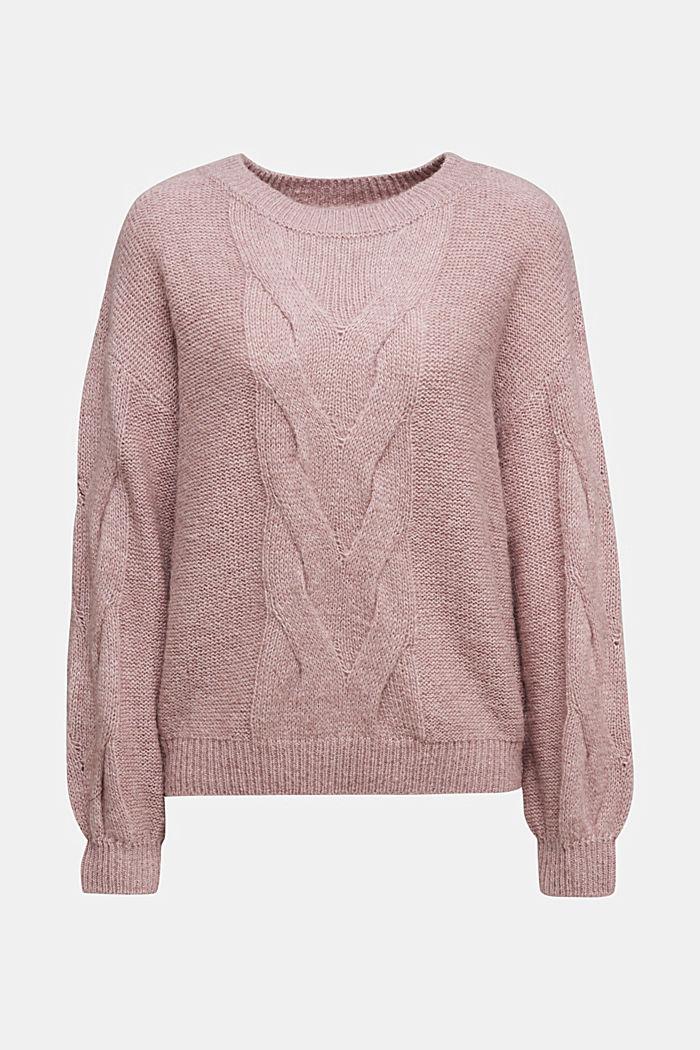 Textured jumper containing alpaca, MAUVE, detail image number 4