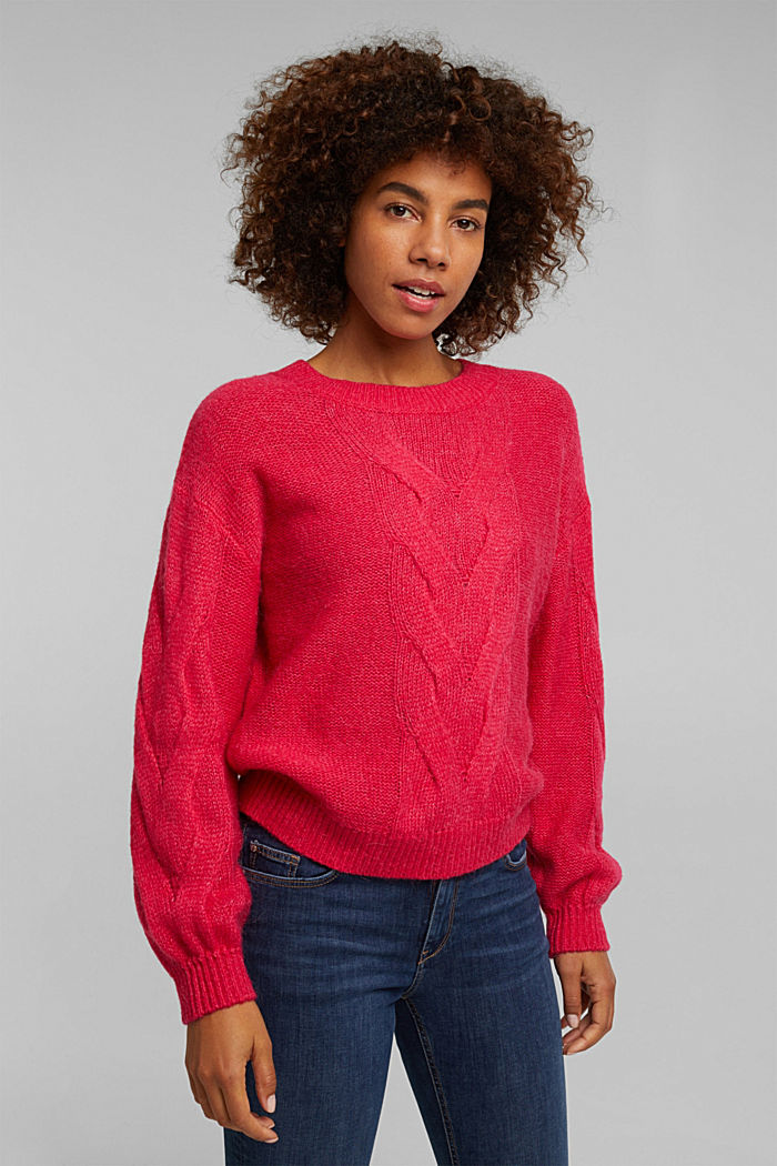 Textured jumper containing alpaca, PINK FUCHSIA, detail image number 0
