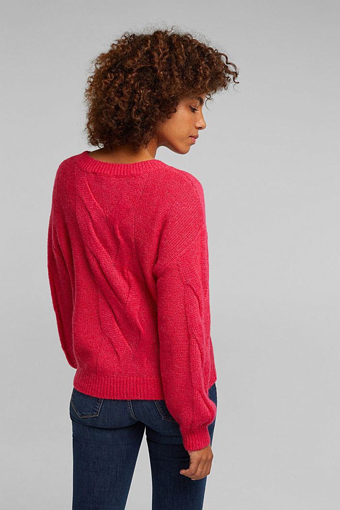 Textured jumper containing alpaca, PINK FUCHSIA, detail image number 3