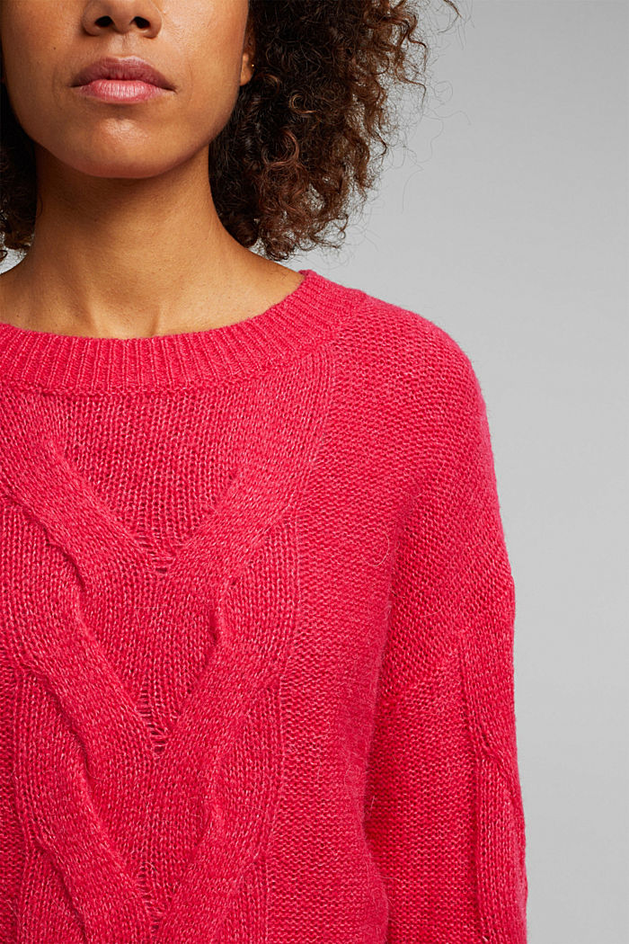 Textured jumper containing alpaca, PINK FUCHSIA, detail image number 2