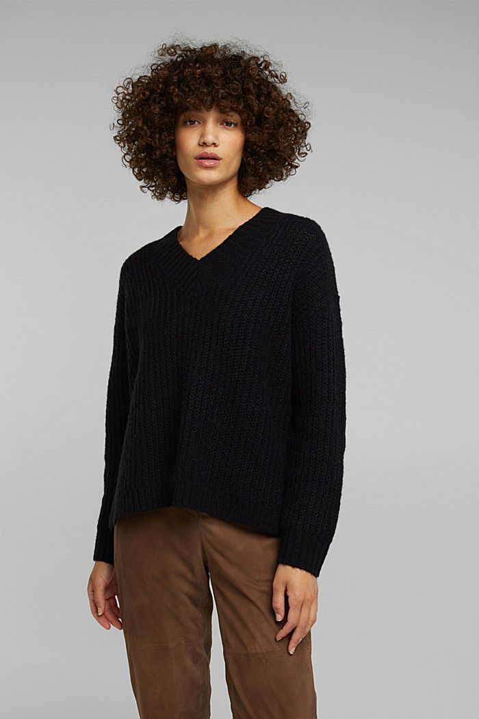 With alpaca: rib knit jumper, BLACK, detail image number 0