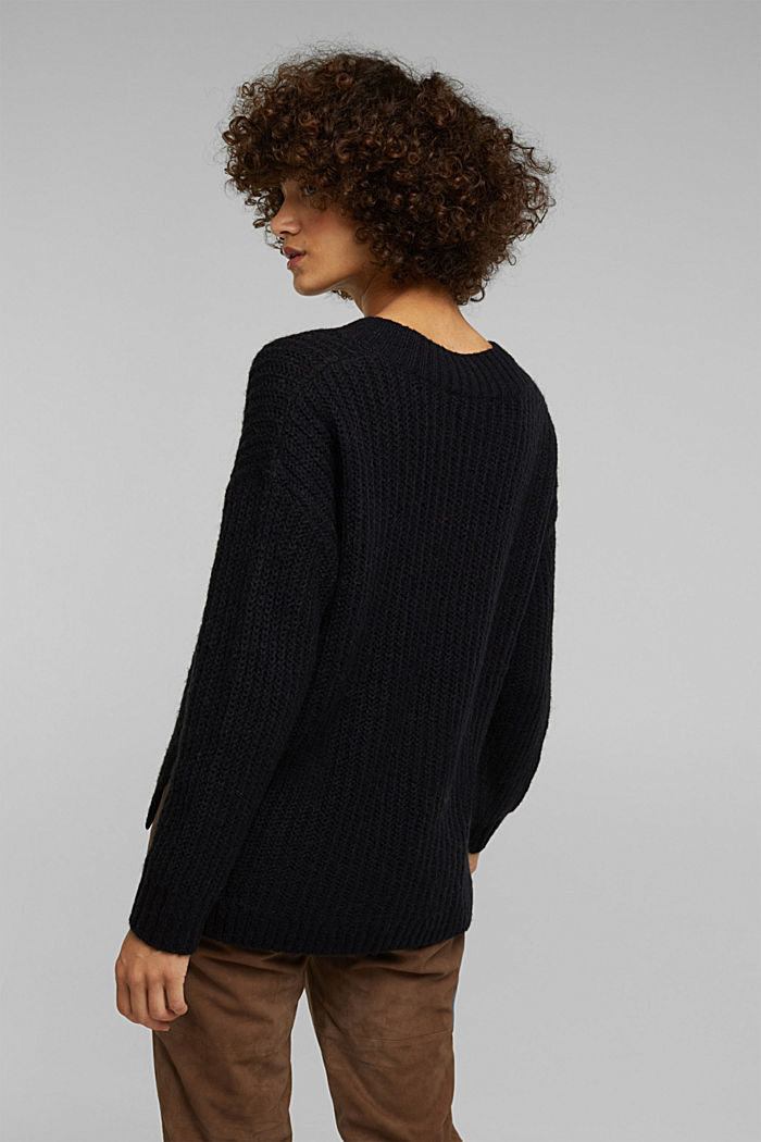 With alpaca: rib knit jumper, BLACK, detail image number 3