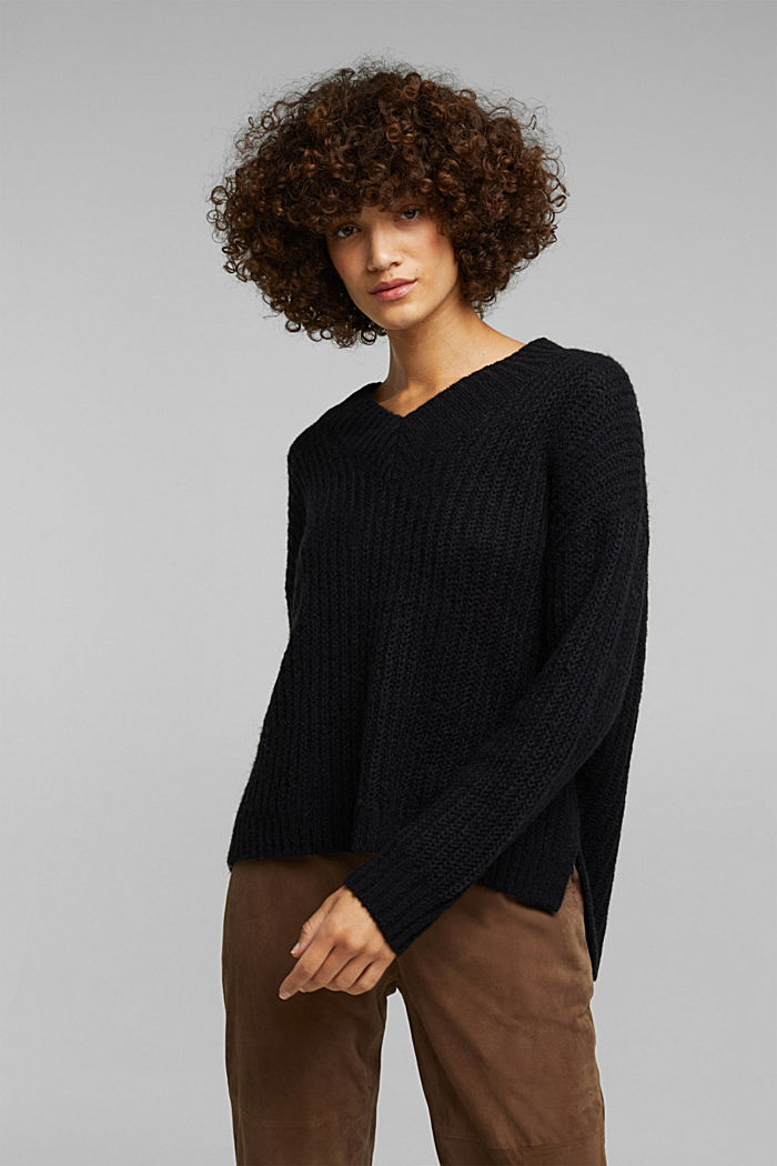 With alpaca: rib knit jumper, BLACK, overview