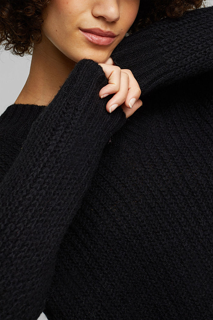 With alpaca: rib knit jumper, BLACK, detail image number 2
