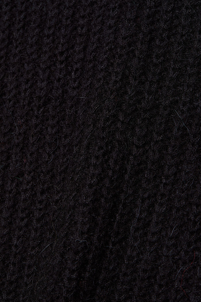 With alpaca: rib knit jumper, BLACK, detail image number 4