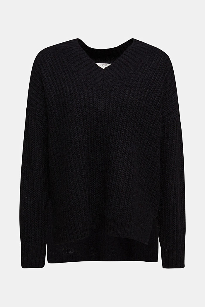 With alpaca: rib knit jumper, BLACK, detail image number 7