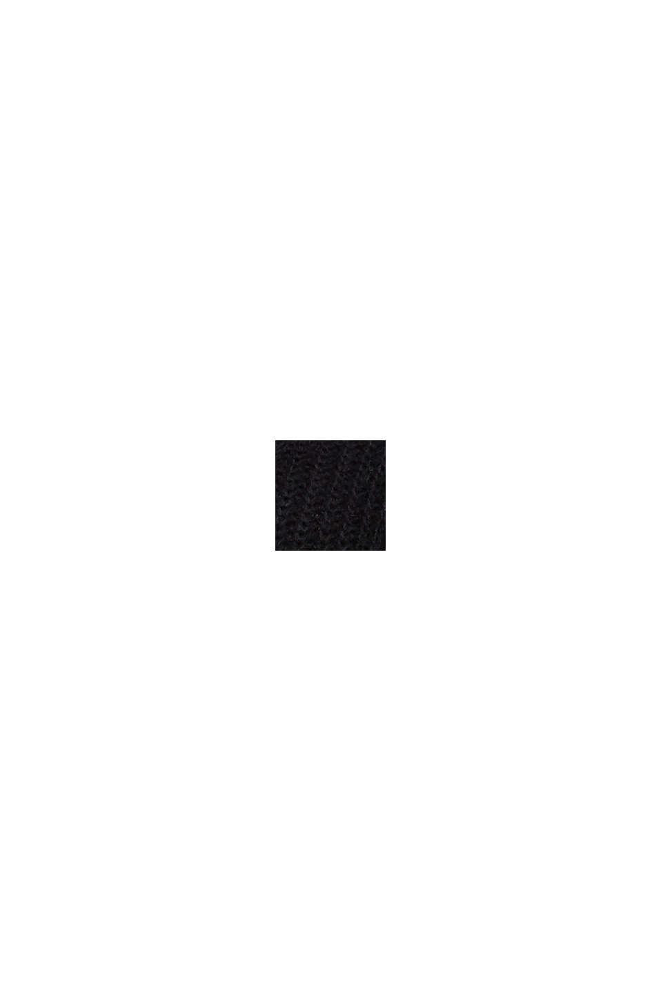Mit Alpaka: Pullover aus Ripp-Strick, BLACK, swatch