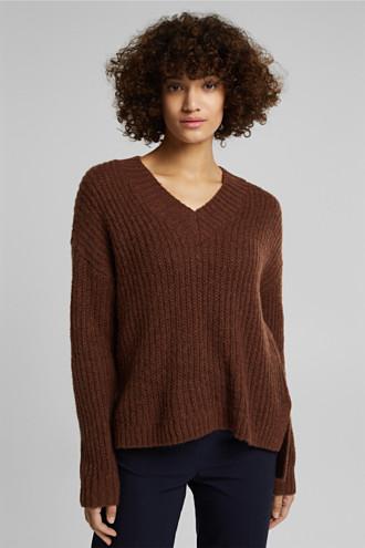 With alpaca: rib knit jumper
