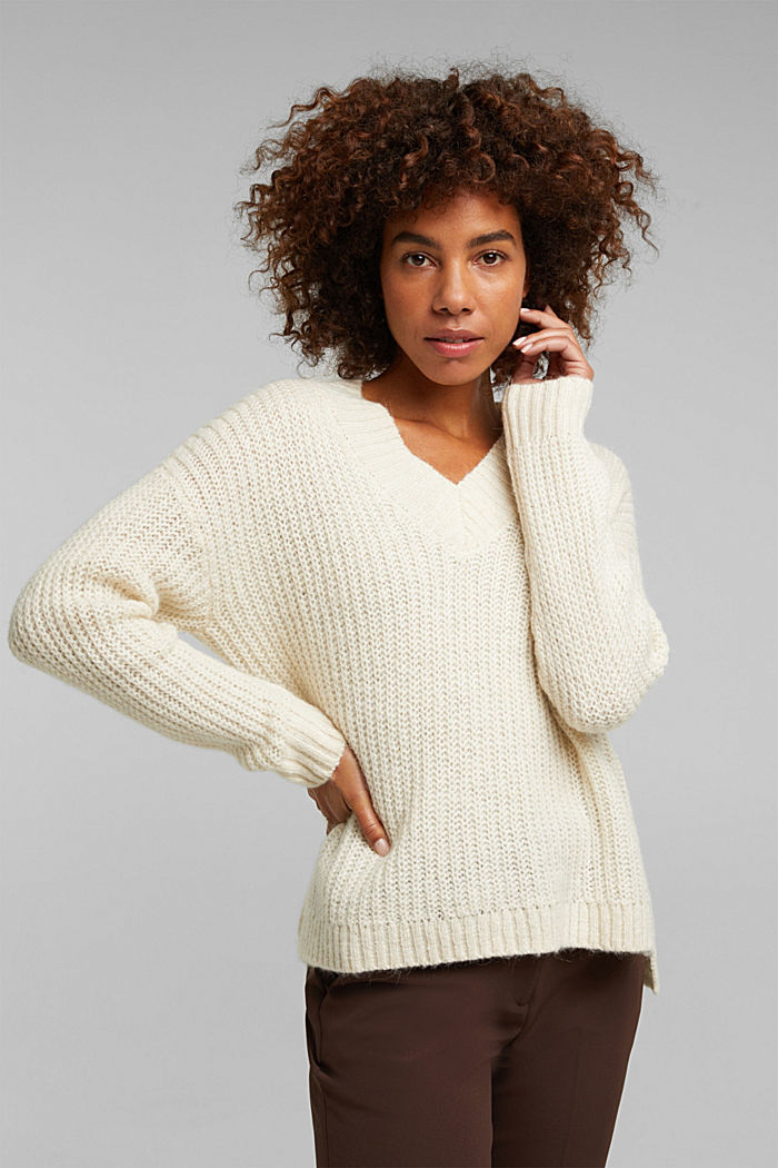 With alpaca: rib knit jumper, CREAM BEIGE, detail image number 0