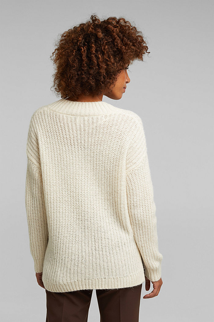 With alpaca: rib knit jumper, CREAM BEIGE, detail image number 2