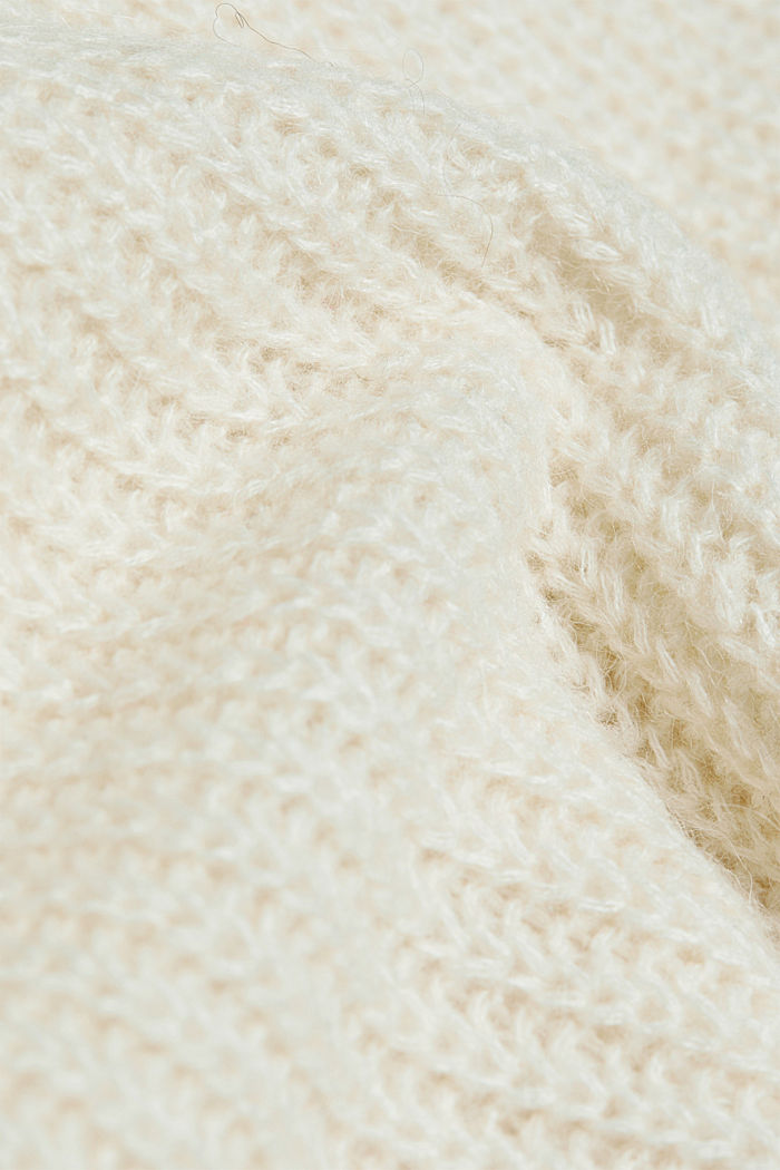 With alpaca: rib knit jumper, CREAM BEIGE, detail image number 3