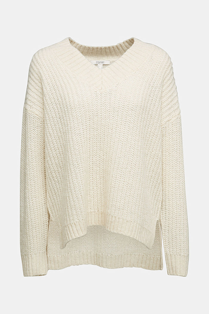 With alpaca: rib knit jumper, CREAM BEIGE, detail image number 4