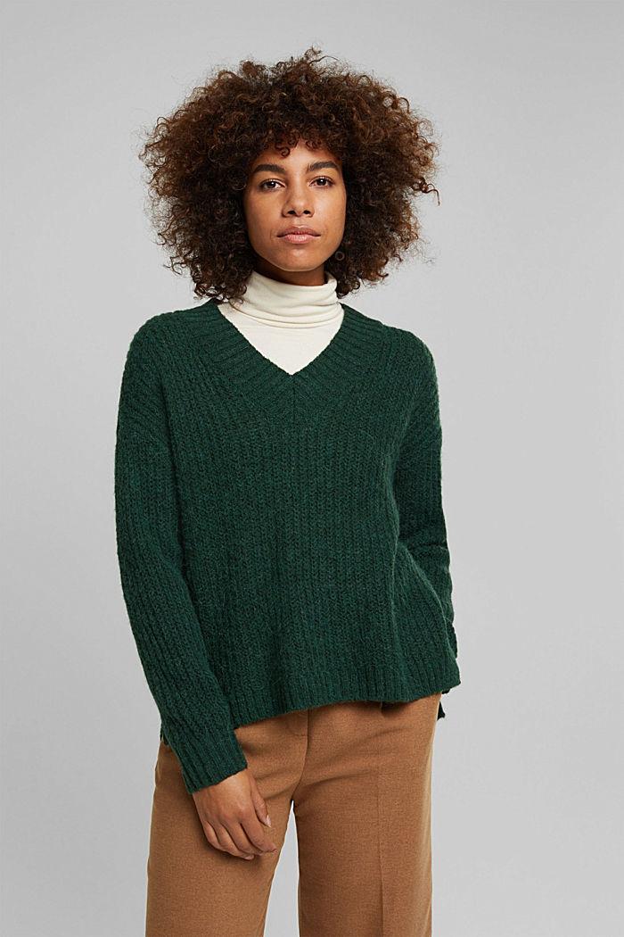 With alpaca: rib knit jumper, DARK GREEN, detail image number 0