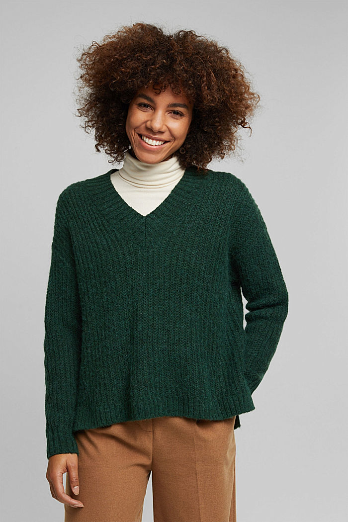 With alpaca: rib knit jumper, DARK GREEN, detail image number 5