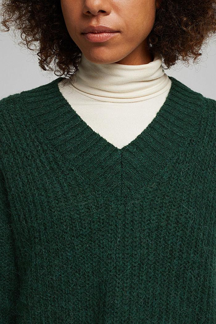 With alpaca: rib knit jumper, DARK GREEN, detail image number 2