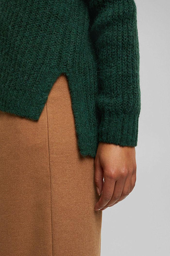 With alpaca: rib knit jumper, DARK GREEN, detail image number 4