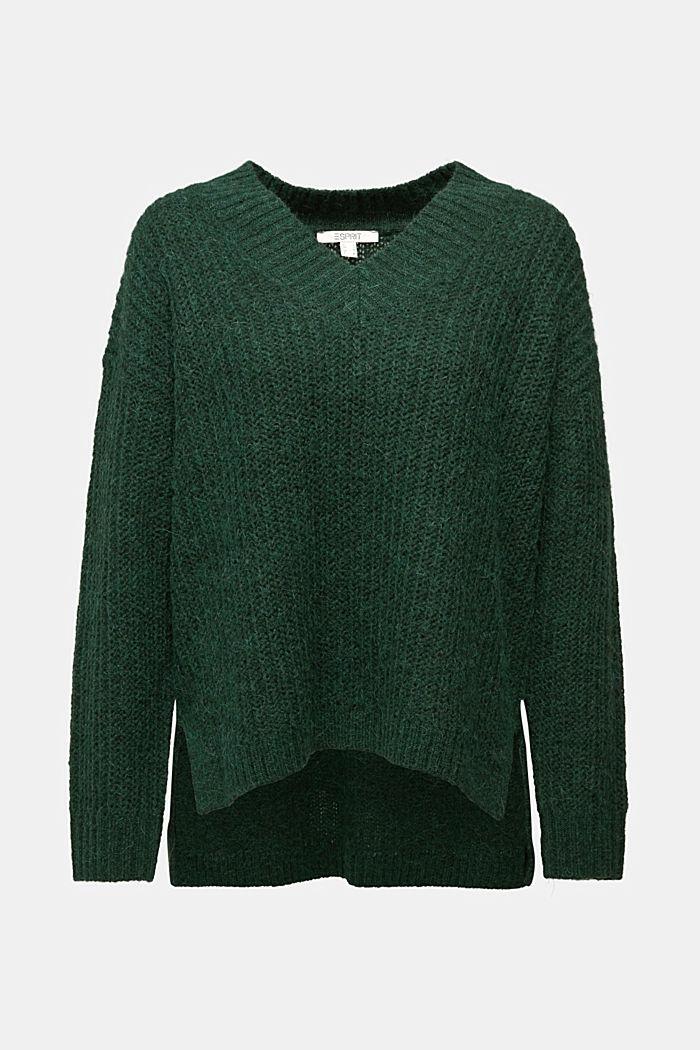 With alpaca: rib knit jumper, DARK GREEN, detail image number 6