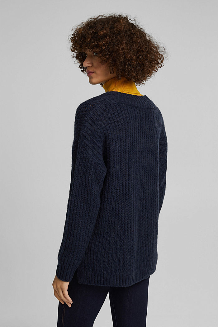 With alpaca: rib knit jumper, NAVY, detail image number 3