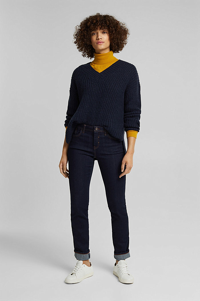 With alpaca: rib knit jumper, NAVY, detail image number 1