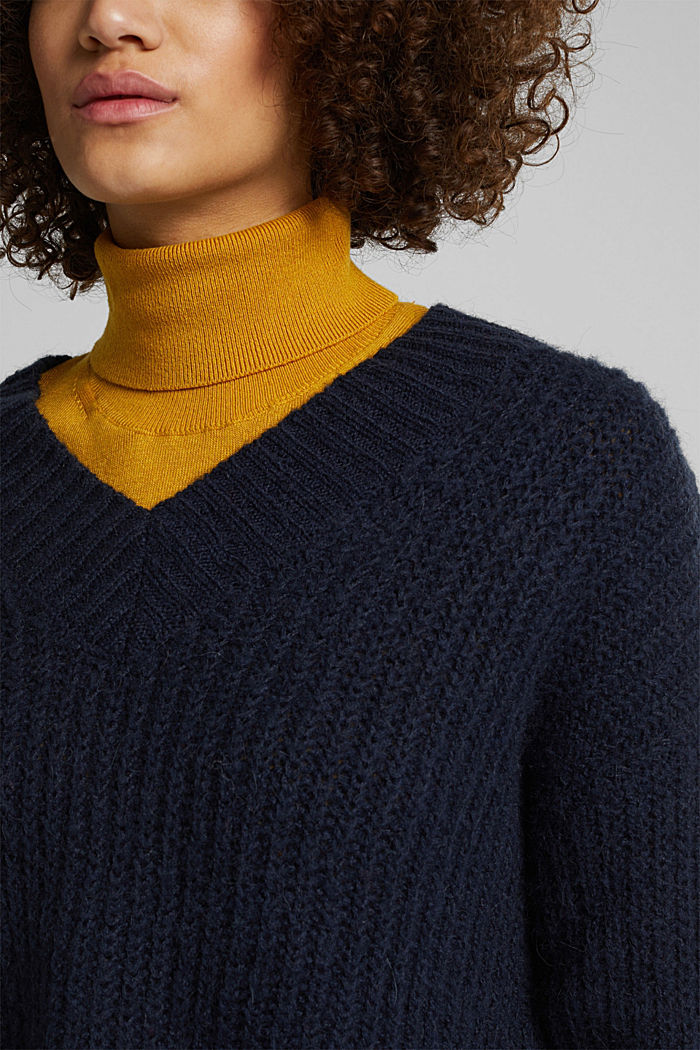 With alpaca: rib knit jumper, NAVY, detail image number 2