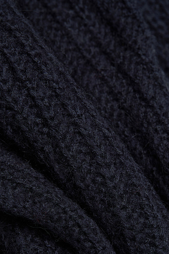 With alpaca: rib knit jumper, NAVY, detail image number 4