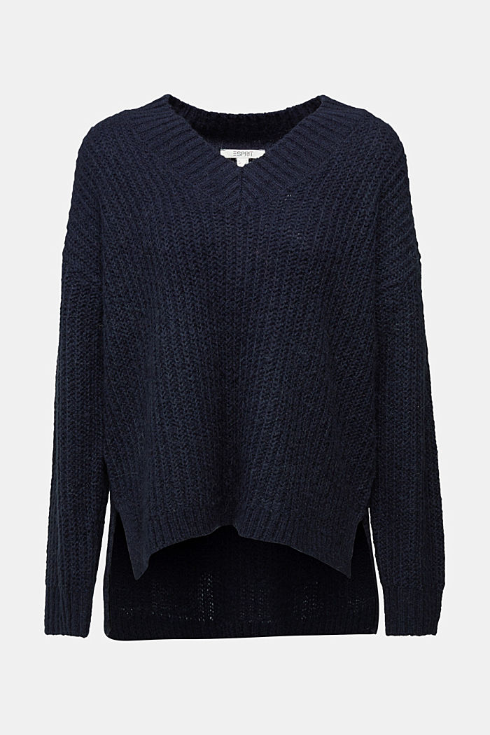 With alpaca: rib knit jumper, NAVY, detail image number 6