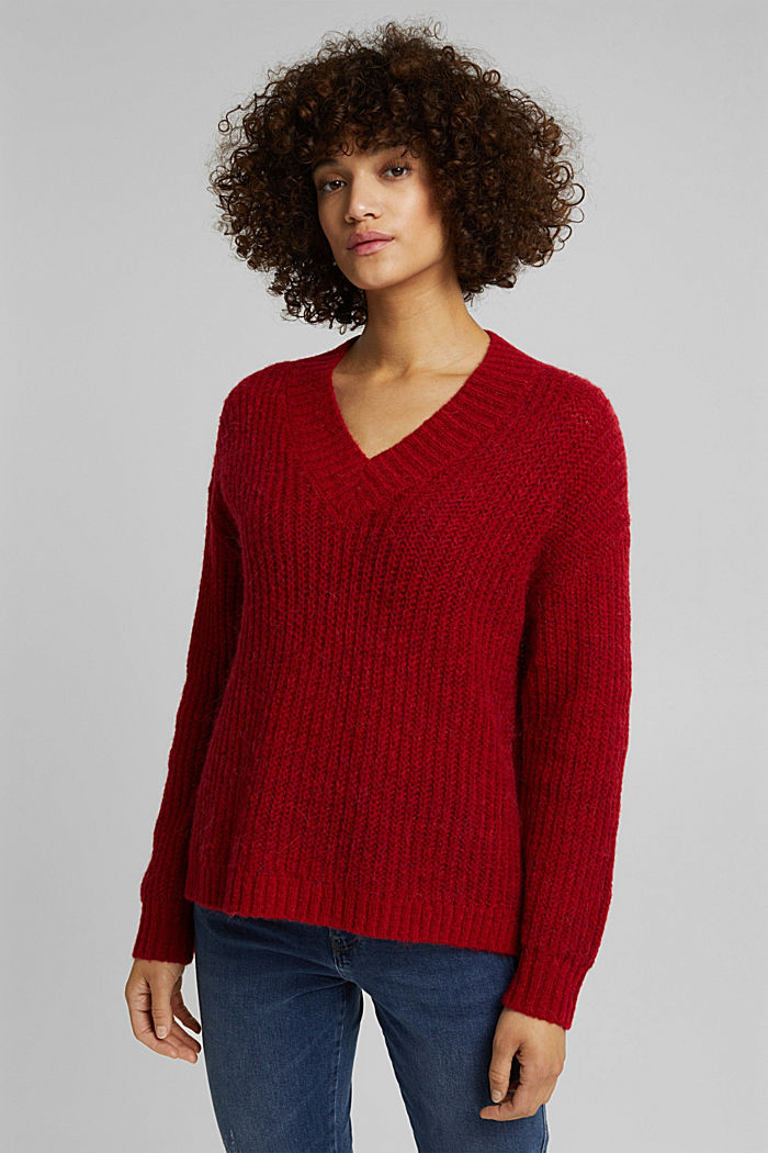 With alpaca: rib knit jumper, RED, detail image number 0