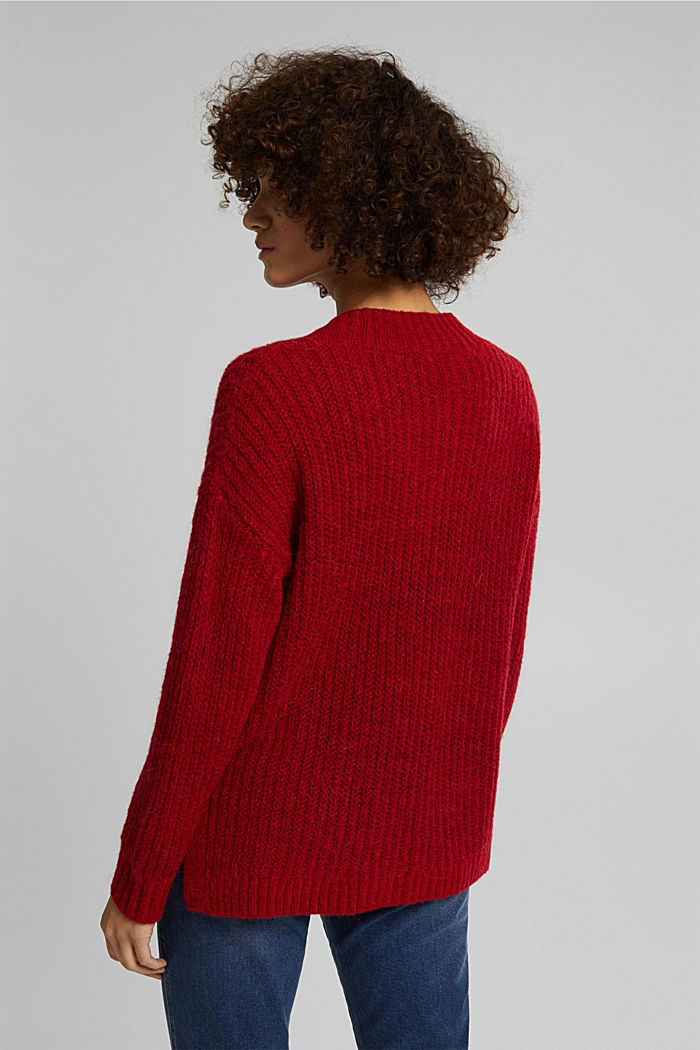 With alpaca: rib knit jumper, RED, detail image number 3