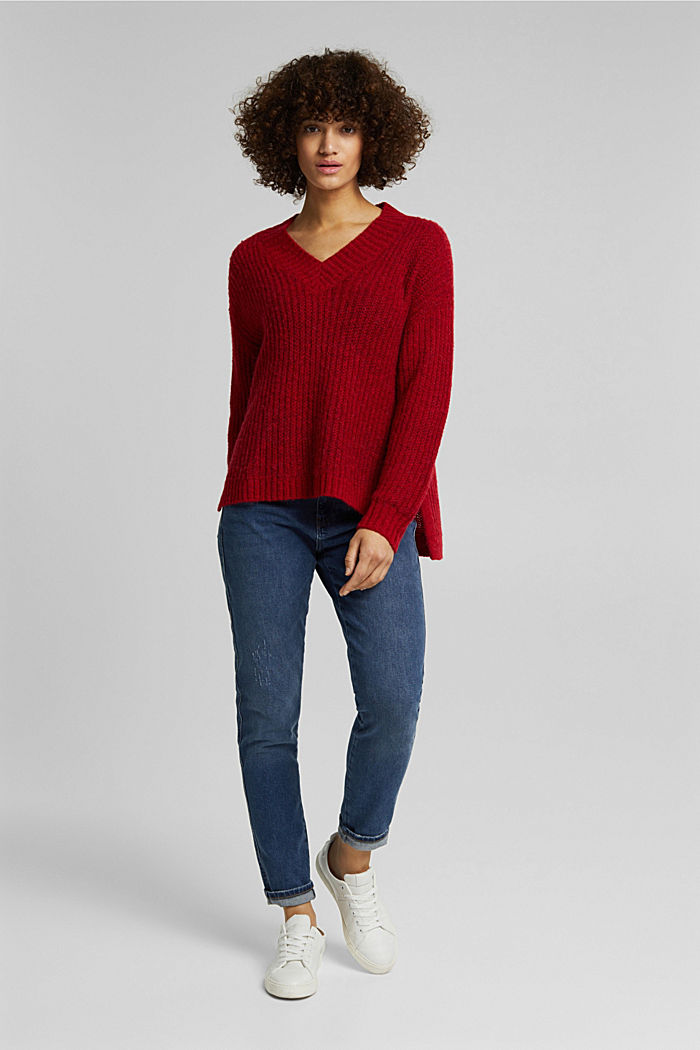 With alpaca: rib knit jumper, RED, detail image number 6