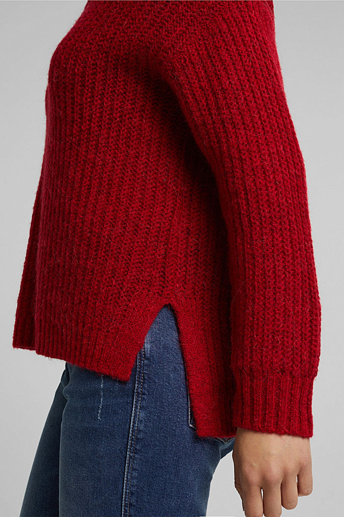 With alpaca: rib knit jumper, RED, detail image number 2