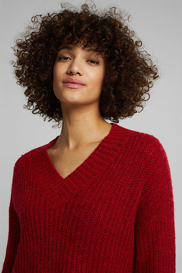 With alpaca: rib knit jumper, RED, detail image number 5