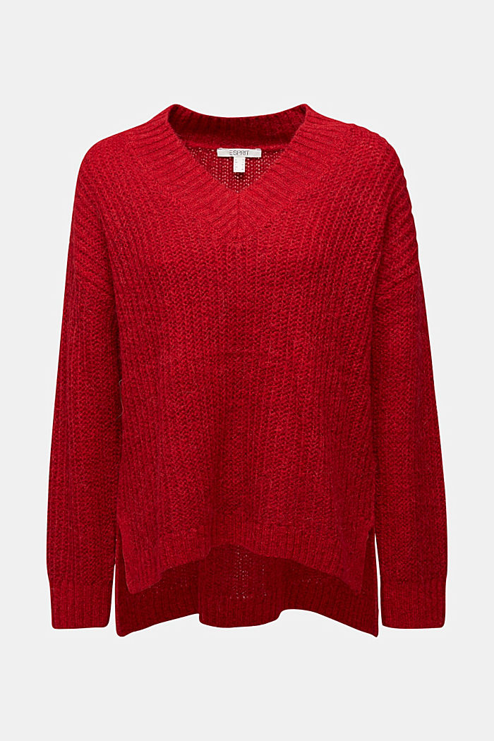 With alpaca: rib knit jumper, RED, detail image number 7
