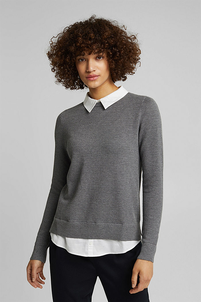 2-in-1 jumper in a textured knit, GUNMETAL, detail image number 0